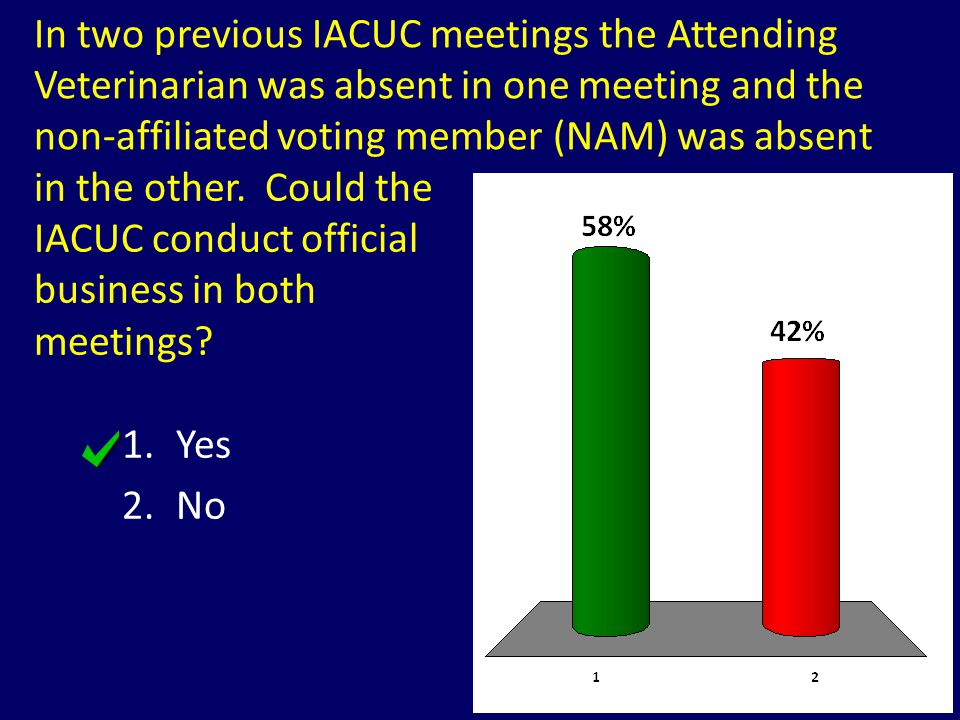 In two previous IACUC meetings the Attending Veterinarian was absent in one meeting and the non-affiliated voting member (NAM) was absent 1.Yes 2.No i