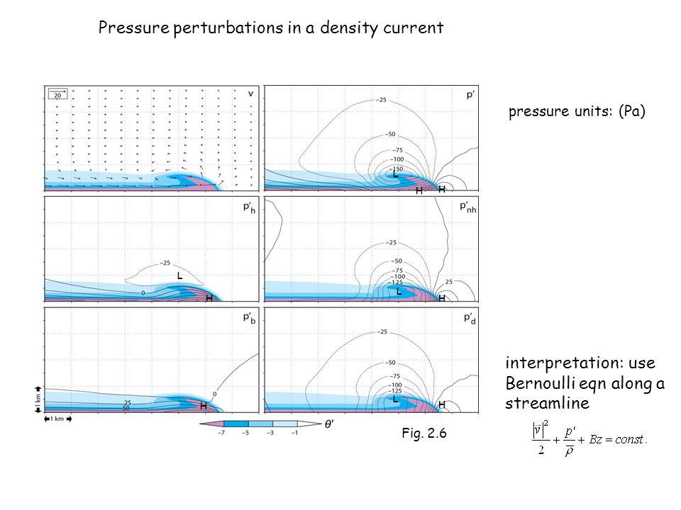 pressure units: (Pa) H L H L H L H L H H interpretation: use Bernoulli eqn along a streamline Fig. 2.6 Pressure perturbations in a density current