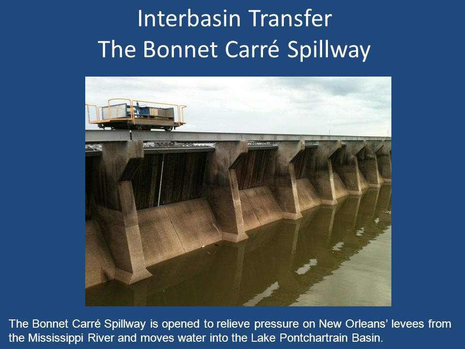 Interbasin Transfer The Bonnet Carré Spillway The Bonnet Carré Spillway is opened to relieve pressure on New Orleans' levees from the Mississippi River and moves water into the Lake Pontchartrain Basin.