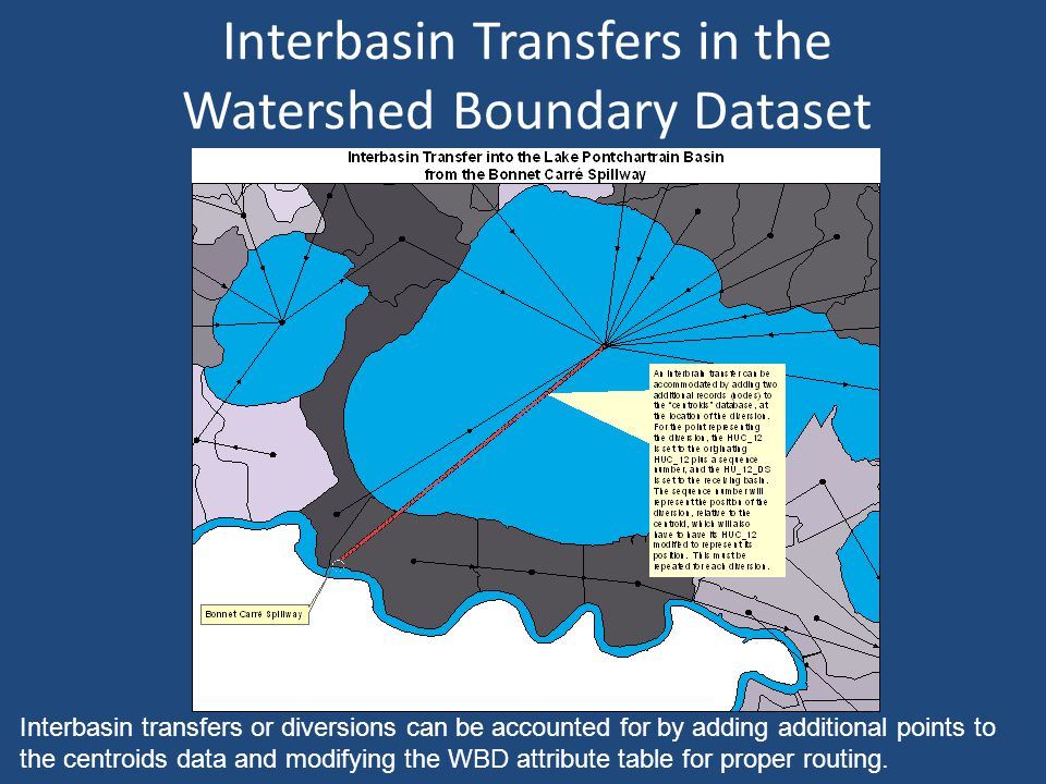 Interbasin Transfers in the Watershed Boundary Dataset Interbasin transfers or diversions can be accounted for by adding additional points to the centroids data and modifying the WBD attribute table for proper routing.