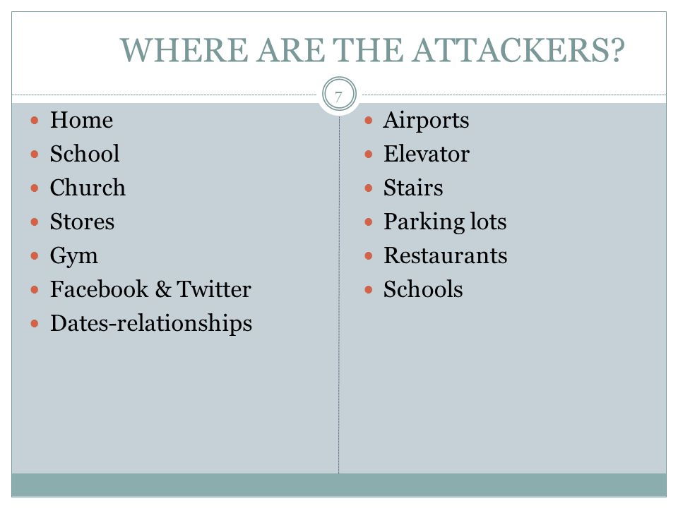 WHERE ARE THE ATTACKERS? Home School Church Stores Gym Facebook & Twitter Dates-relationships Airports Elevator Stairs Parking lots Restaurants School