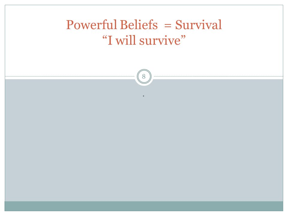 """. Powerful Beliefs = Survival """"I will survive"""" 8"""