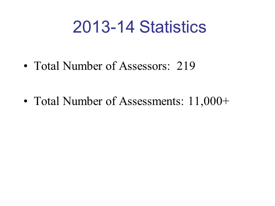 2013-14 Statistics Total Number of Assessors: 219 Total Number of Assessments: 11,000+