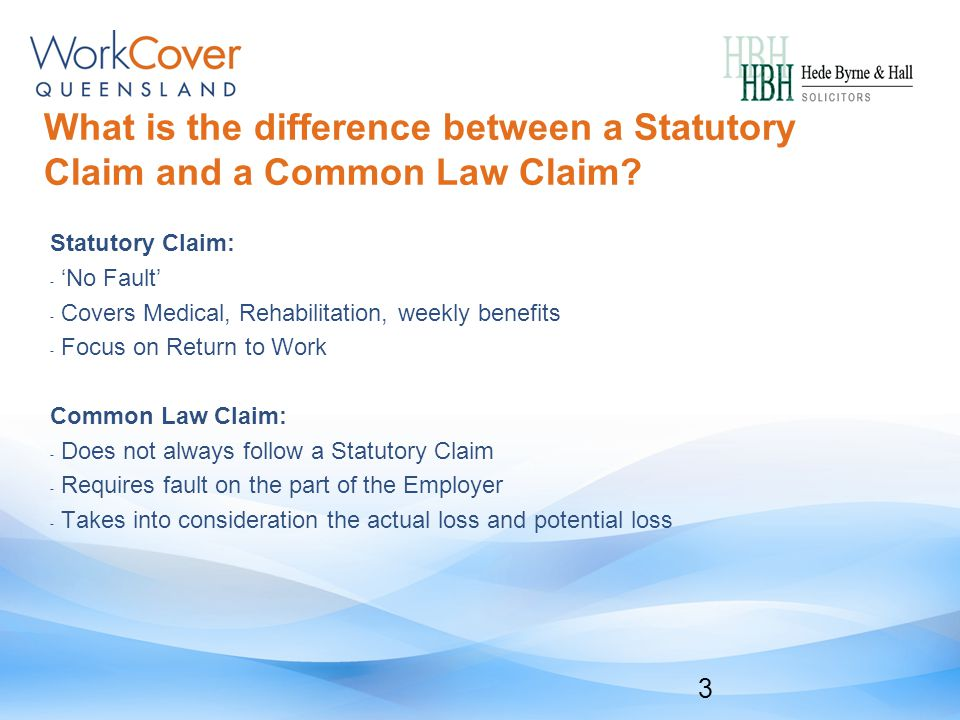 What is the difference between a Statutory Claim and a Common Law Claim.