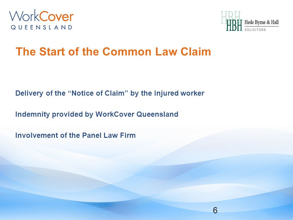 The Start of the Common Law Claim Delivery of the Notice of Claim by the injured worker Indemnity provided by WorkCover Queensland Involvement of the Panel Law Firm 6