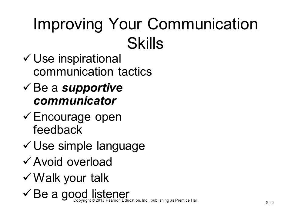 Copyright © 2013 Pearson Education, Inc., publishing as Prentice Hall 8-20 Improving Your Communication Skills Use inspirational communication tactics