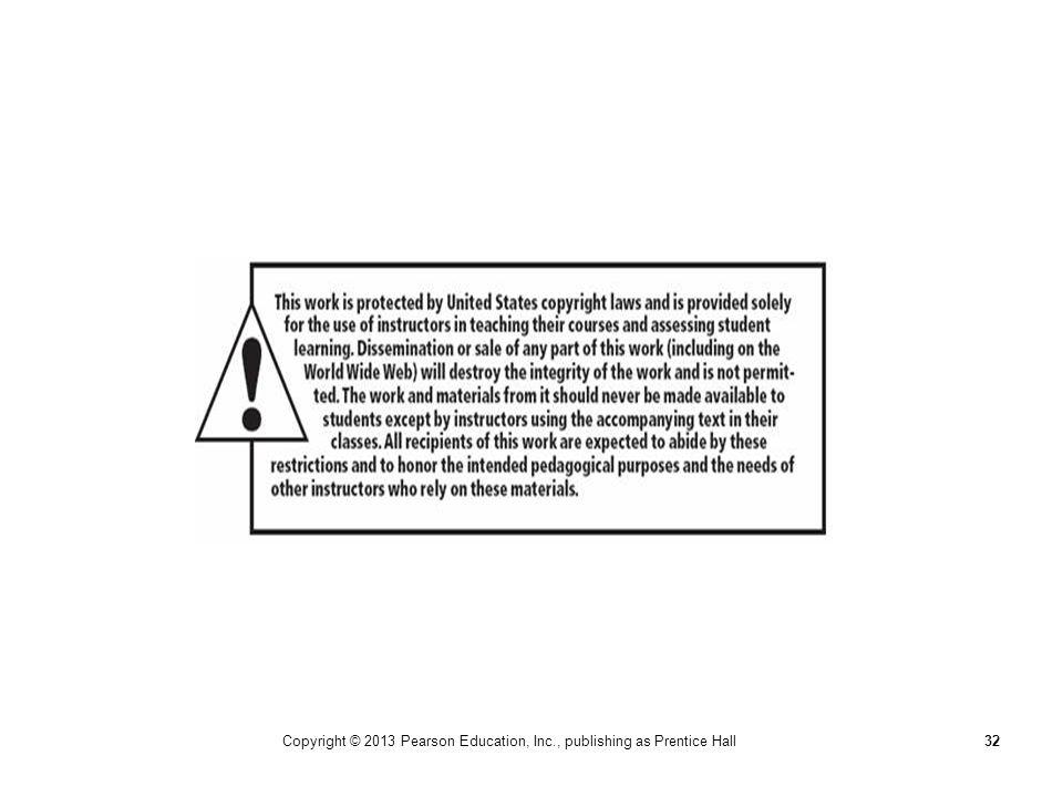 Copyright © 2013 Pearson Education, Inc., publishing as Prentice Hall32