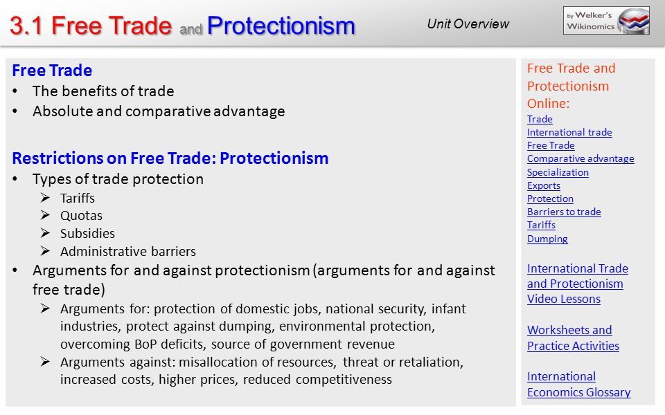 3.1 Free Trade and Protectionism Unit Overview Free Trade The benefits of trade Absolute and comparative advantage Restrictions on Free Trade: Protect