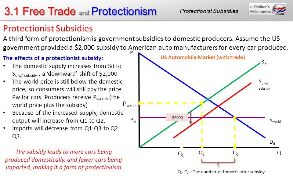 3.1 Free Trade and Protectionism Protectionist Subsidies A third form of protectionism is government subsidies to domestic producers. Assume the US go