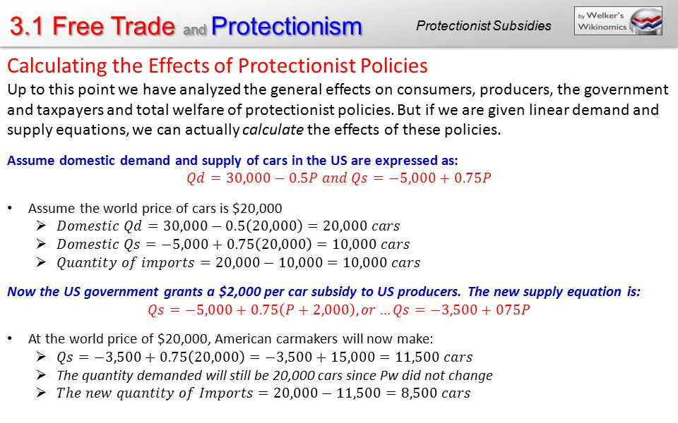 3.1 Free Trade and Protectionism Protectionist Subsidies