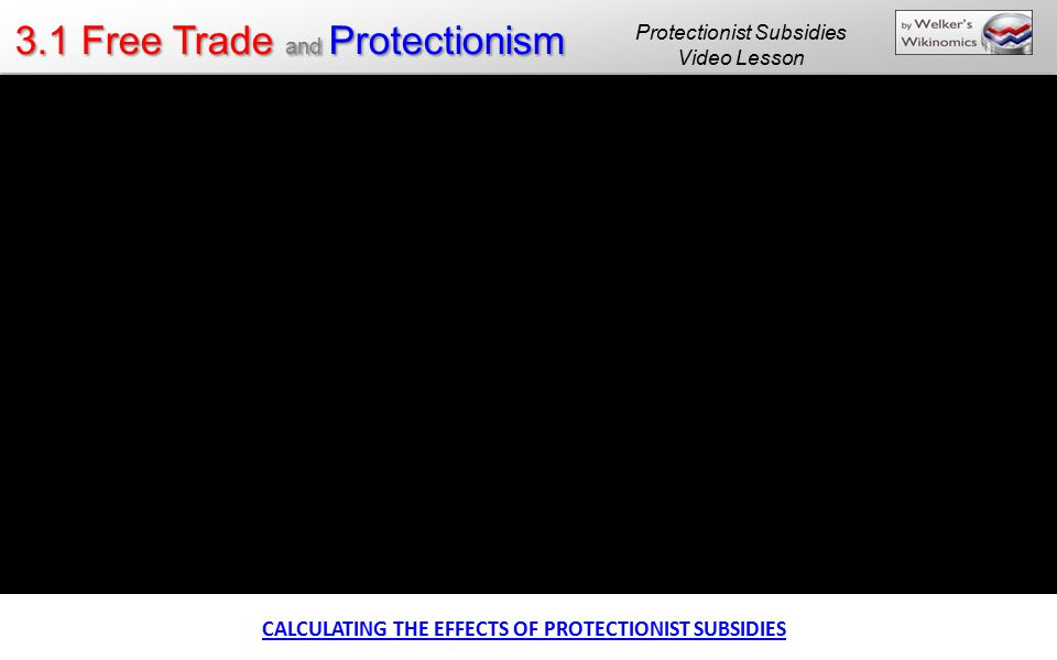 3.1 Free Trade and Protectionism CALCULATING THE EFFECTS OF PROTECTIONIST SUBSIDIES Protectionist Subsidies Video Lesson