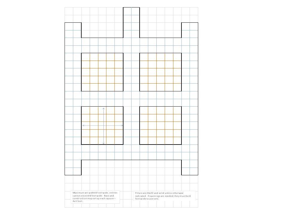 4' from pillar edges, 4' space between.