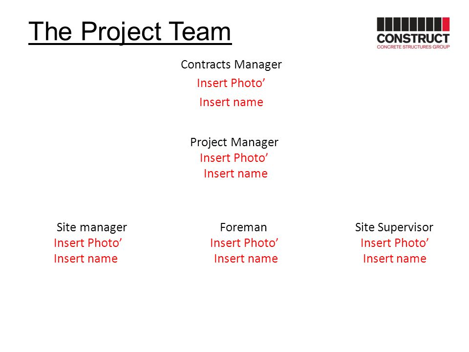 The Project Team Contracts Manager Insert Photo' Insert name Project Manager Insert Photo' Insert name Site manager Foreman Site Supervisor Insert Pho