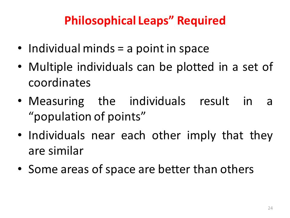 """Philosophical Leaps"""" Required Individual minds = a point in space Multiple individuals can be plotted in a set of coordinates Measuring the individual"""