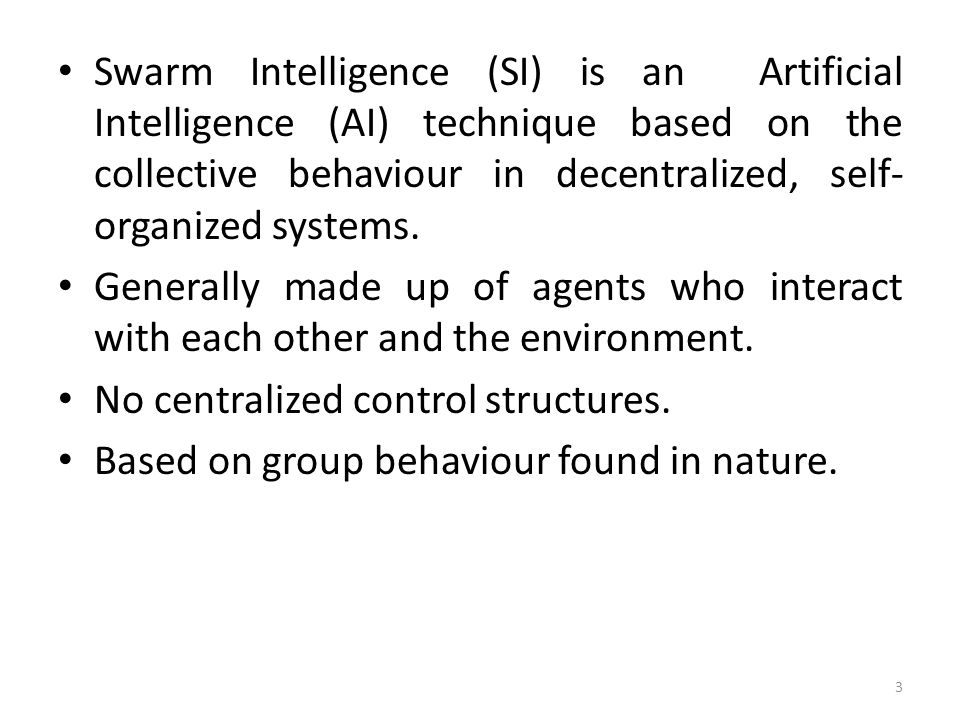Swarm Intelligence (SI) is an Artificial Intelligence (AI) technique based on the collective behaviour in decentralized, self- organized systems. Gene