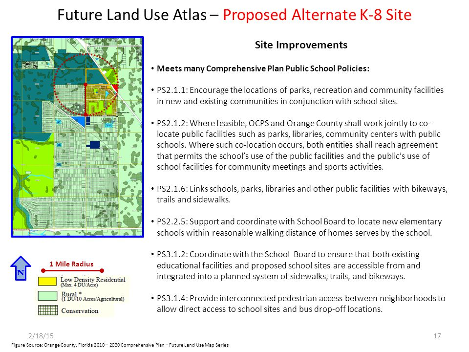 Future Land Use Atlas – Proposed Alternate K-8 Site N 1 Mile Radius Site Improvements Meets many Comprehensive Plan Public School Policies: PS2.1.1: E