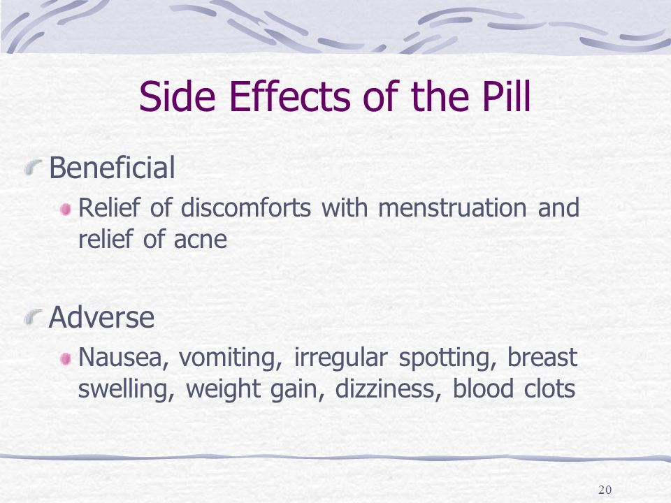 20 Side Effects of the Pill Beneficial Relief of discomforts with menstruation and relief of acne Adverse Nausea, vomiting, irregular spotting, breast swelling, weight gain, dizziness, blood clots
