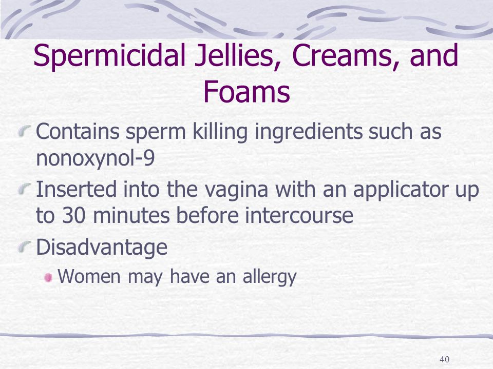 40 Spermicidal Jellies, Creams, and Foams Contains sperm killing ingredients such as nonoxynol-9 Inserted into the vagina with an applicator up to 30