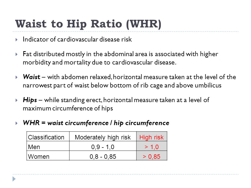 Waist to Hip Ratio (WHR)  Indicator of cardiovascular disease risk  Fat distributed mostly in the abdominal area is associated with higher morbidity and mortality due to cardiovascular disease.