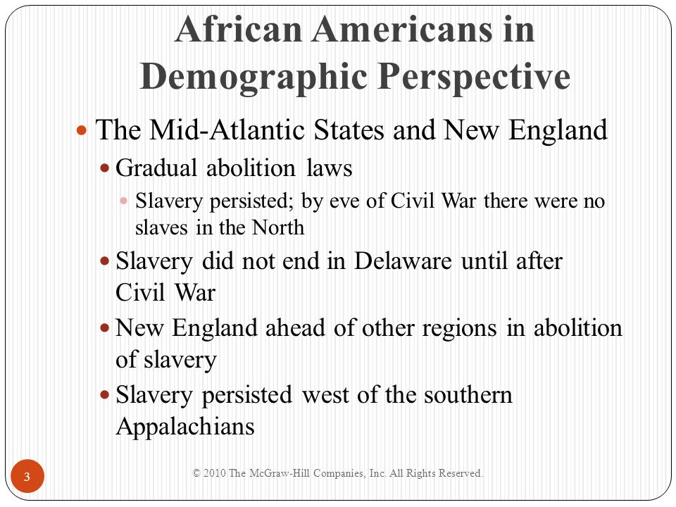 African Americans in Demographic Perspective Development of Black Communities Timing and character of abolition important in building of black communities Developed rapidly in cities, especially in the North Economic discrimination and social ostracism remained African Americans gravitated to East Coast cities Also time of white migration Occupational opportunity varied from place to place In Boston, blacks compressed to lower economic ranks © 2010 The McGraw-Hill Companies, Inc.