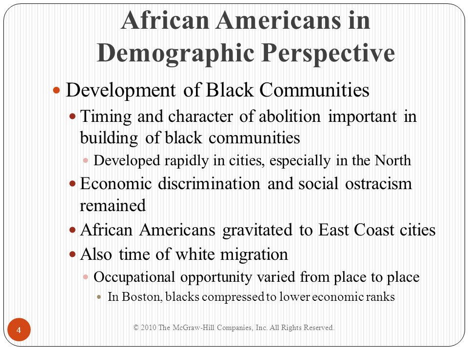 Black Colonization American Colonization Society Made up of mix of slaveholders and abolitionists Colony of Liberia formed as result of its efforts Black Opposition Philadelphia blacks negatively responded to colonization Black opposition grew in many cities Whether to stay or leave America continued to be debate in black communities throughout antebellum period © 2010 The McGraw-Hill Companies, Inc.