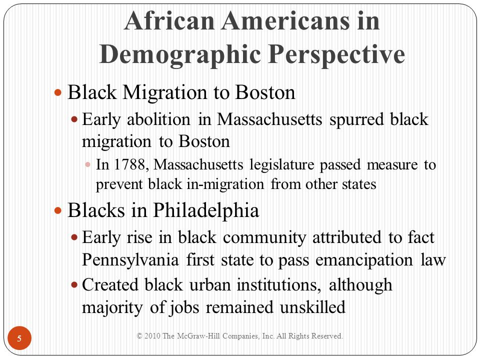 Black Writing and Art in the New Nation Appeals to Readers Success of pamphlet as vehicle of social transformation depended on appeal to white readers Black leaders defended claims for equal citizenship; Africa as center of black heritage became a theme © 2010 The McGraw-Hill Companies, Inc.