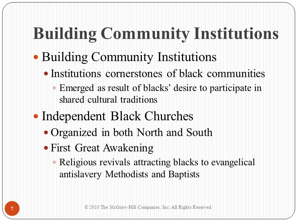 Building Community Institutions Richard Allen and Absalom Jones Founders of African Free Society Decided to break away from St.