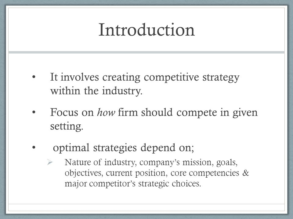 Formulating a Competitive Strategy Competitive Advantage A firm has competitive advantage when it is successful in designing and implementing a value-creating strategy that competitors are not currently using.