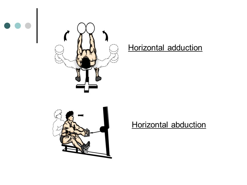 9. Horizontal adduction: movement of humerus from side-horizontal to front-horizontal (ex. pushing a barbell during a bench press) 10. Horizontal abdu