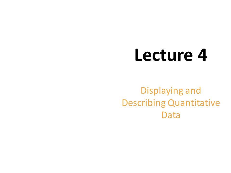 Copyright © 2012 Pearson Education. Lecture 4 Displaying and Describing Quantitative Data
