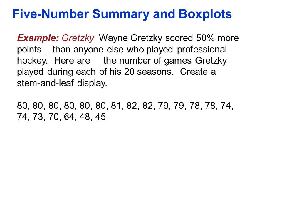 Five-Number Summary and Boxplots Example: Gretzky Wayne Gretzky scored 50% more points than anyone else who played professional hockey. Here are the n