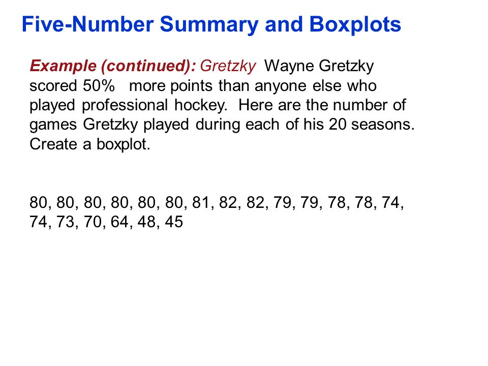 Five-Number Summary and Boxplots Example (continued): Gretzky Wayne Gretzky scored 50% more points than anyone else who played professional hockey. He