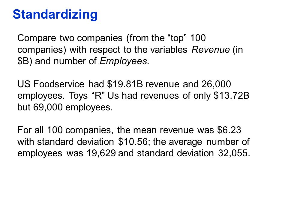 """Standardizing Compare two companies (from the """"top"""" 100 companies) with respect to the variables Revenue (in $B) and number of Employees. US Foodservi"""