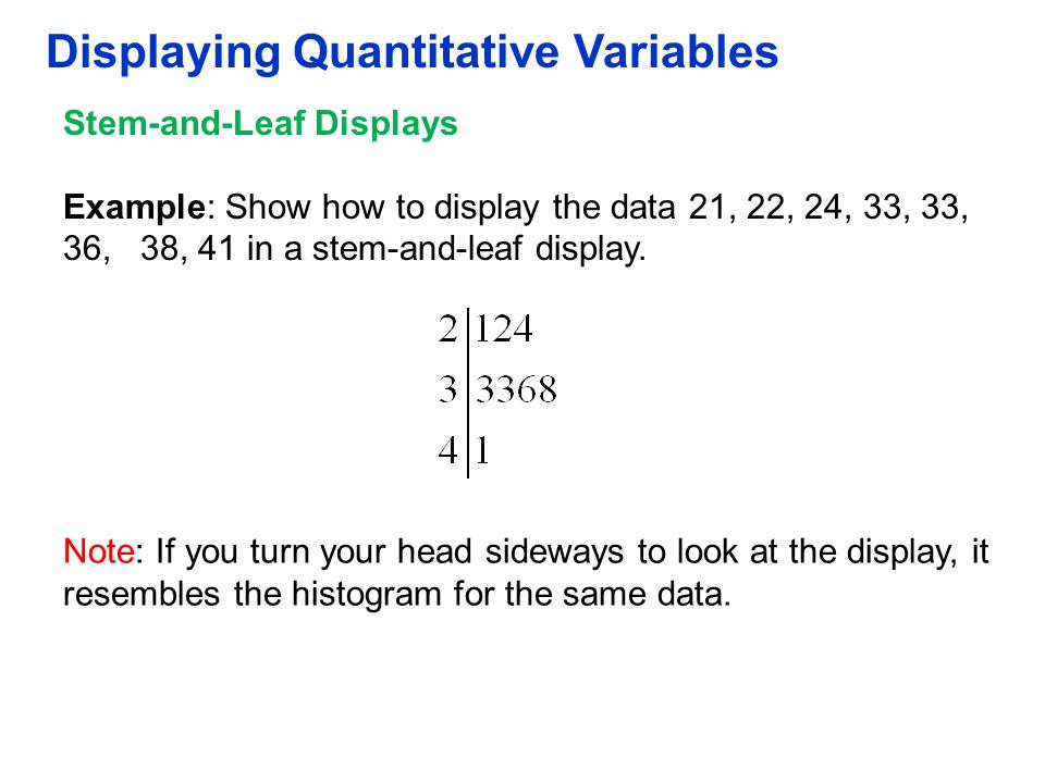 Displaying Quantitative Variables Stem-and-Leaf Displays Example: Show how to display the data 21, 22, 24, 33, 33, 36, 38, 41 in a stem-and-leaf displ