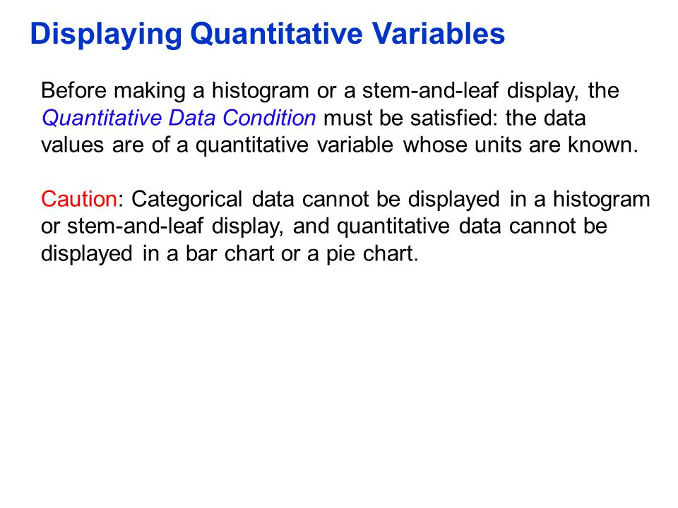 Displaying Quantitative Variables Before making a histogram or a stem-and-leaf display, the Quantitative Data Condition must be satisfied: the data va