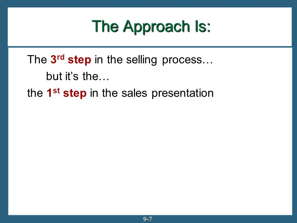 Exhibit 9-1: The Approach Begins the Sales Presentation The sales presentation method determines how you open your presentation 9-8