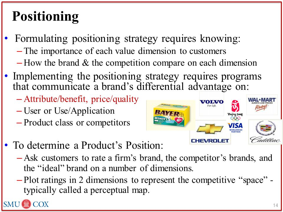 Positioning Formulating positioning strategy requires knowing: – The importance of each value dimension to customers – How the brand & the competition compare on each dimension Implementing the positioning strategy requires programs that communicate a brand's differential advantage on: – Attribute/benefit, price/quality – User or Use/Application – Product class or competitors To determine a Product's Position: – Ask customers to rate a firm's brand, the competitor's brands, and the ideal brand on a number of dimensions.