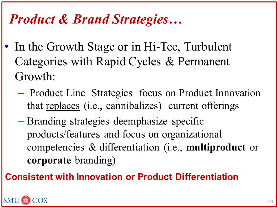 Product & Brand Strategies… In the Growth Stage or in Hi-Tec, Turbulent Categories with Rapid Cycles & Permanent Growth: – Product Line Strategies foc