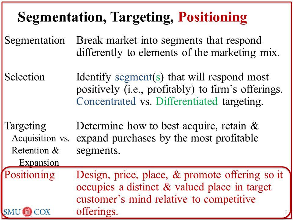 Segmentation, Targeting, Positioning Segmentation Selection Targeting Acquisition vs.
