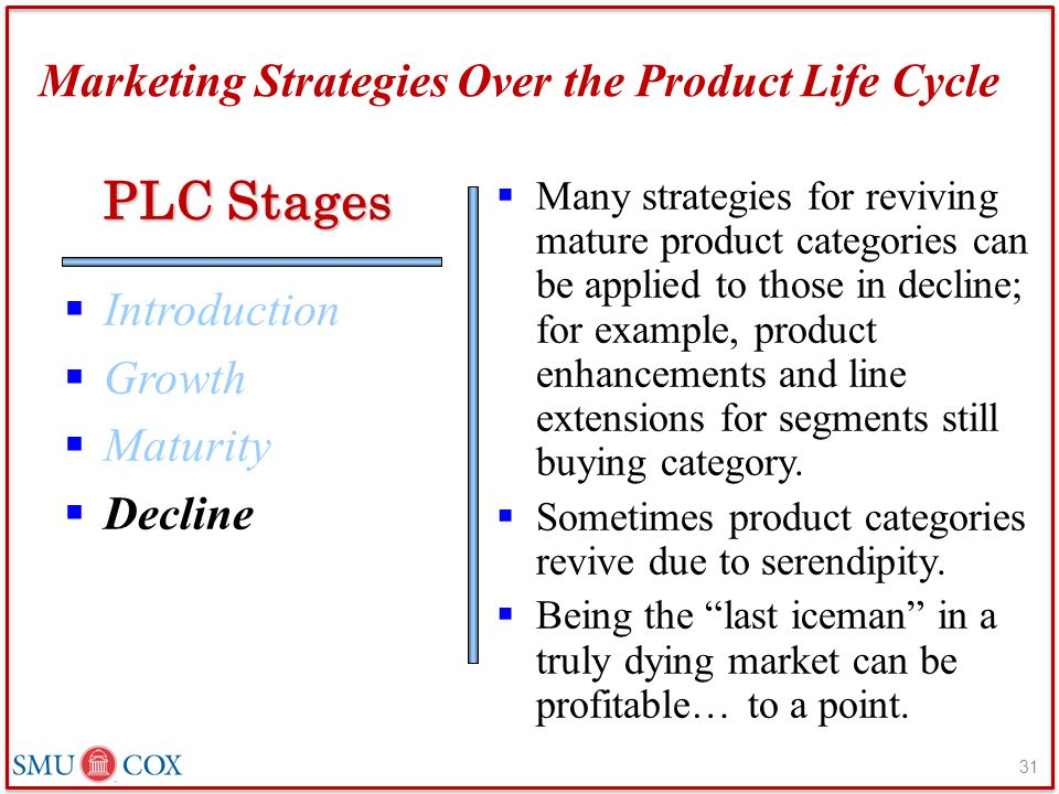 Marketing Strategies Over the Product Life Cycle  Introduction  Growth  Maturity  Decline  Many strategies for reviving mature product categories