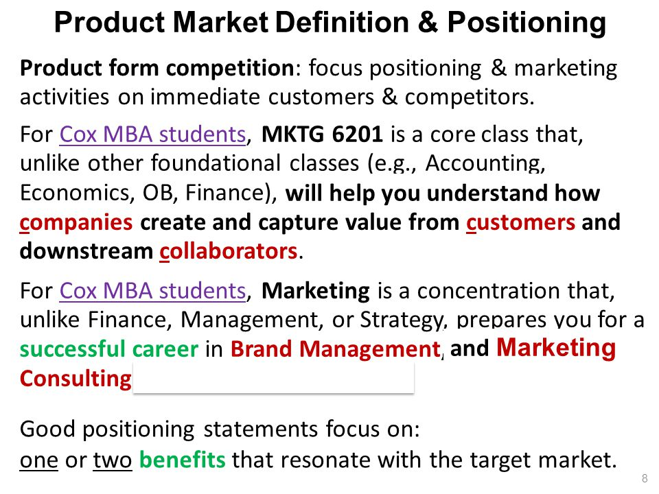 For Cox MBA students, MKTG 6201 is a core class that, unlike other foundational classes (e.g., Accounting, Economics, OB, Finance), emphasizes the company's boundary-spanning activities that focus on customers, downstream collaborators, and competitors.