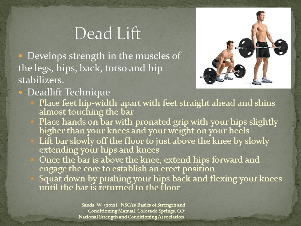 Develops strength in the muscles of the legs, hips, back, torso and hip stabilizers.