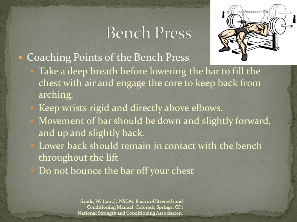 Coaching Points of the Bench Press Take a deep breath before lowering the bar to fill the chest with air and engage the core to keep back from arching.