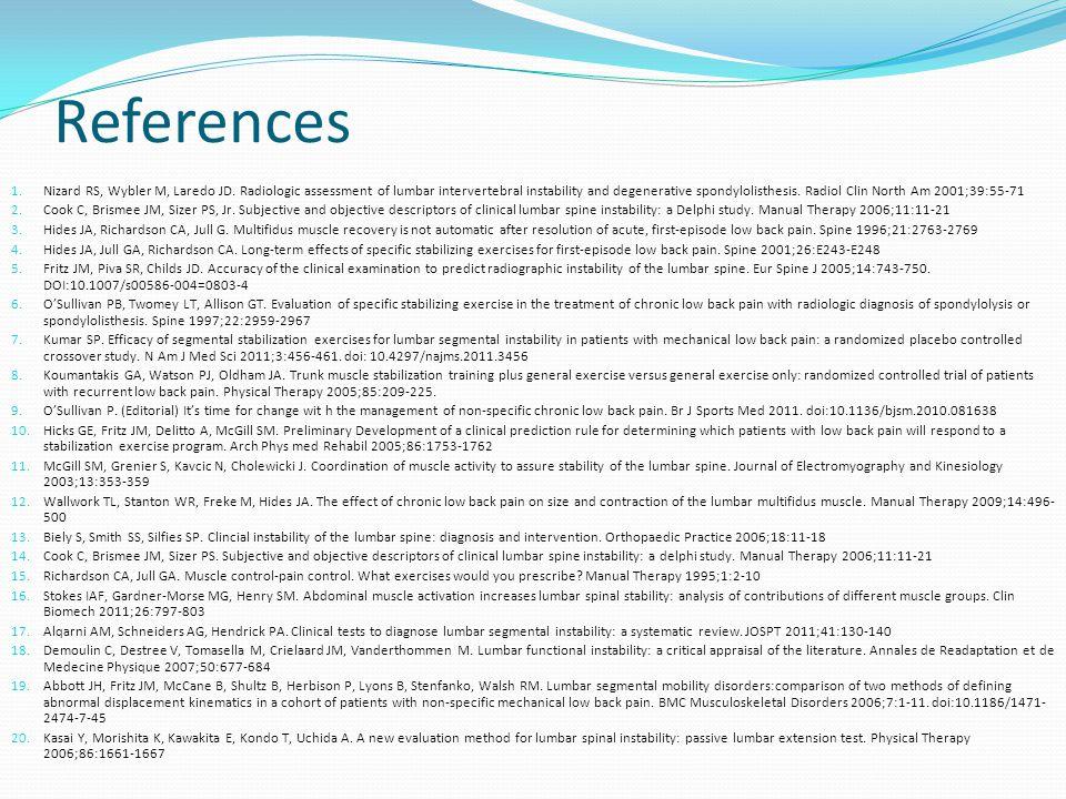 References 1.Nizard RS, Wybler M, Laredo JD.
