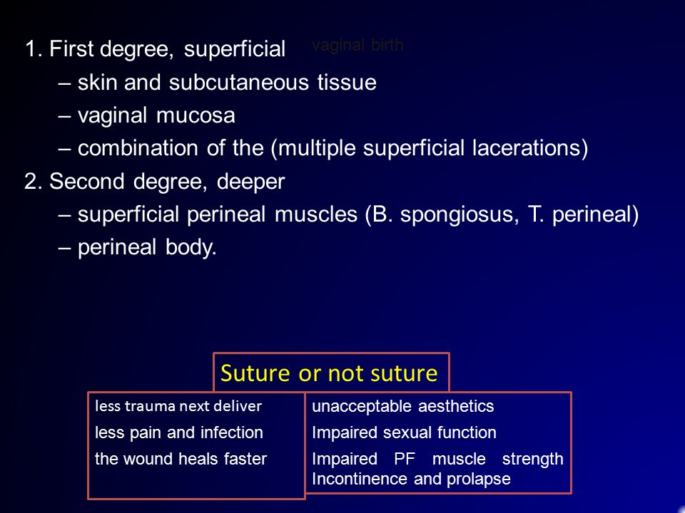 1. First degree, superficial – skin and subcutaneous tissue – vaginal mucosa – combination of the (multiple superficial lacerations) 2. Second degree,