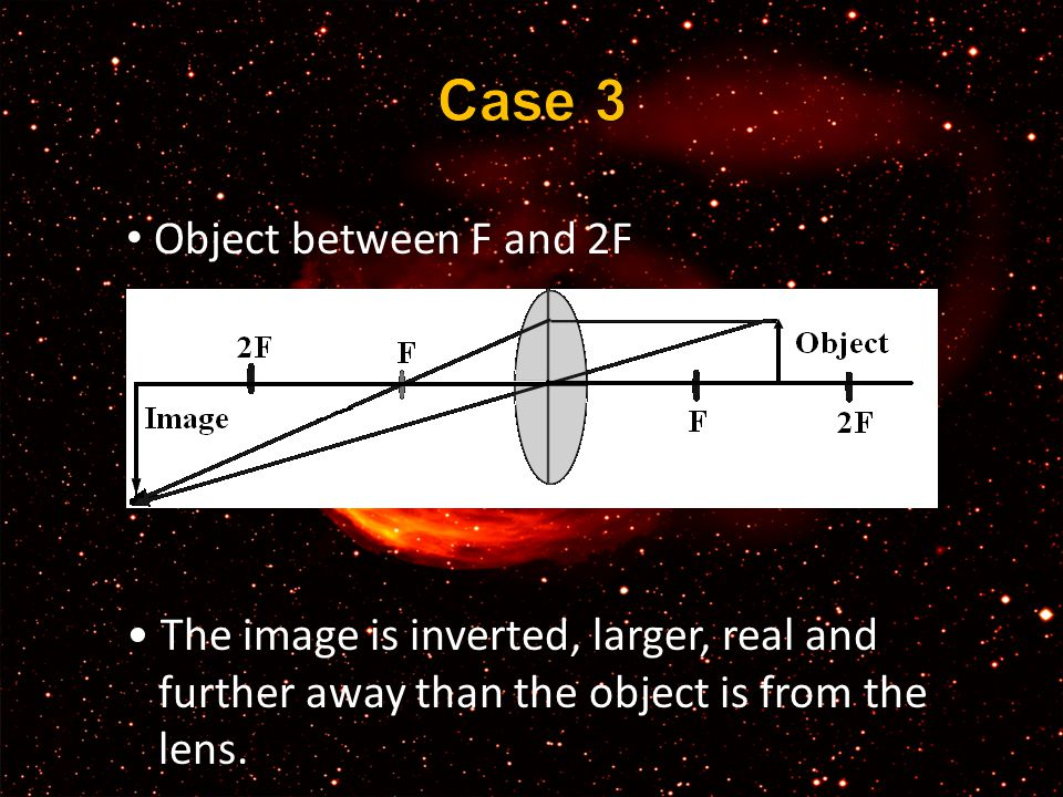 Object between F and 2F The image is inverted, larger, real and further away than the object is from the lens.