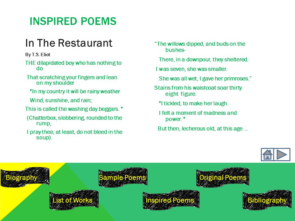 INSPIRED POEMS In The Restaurant By T.S.
