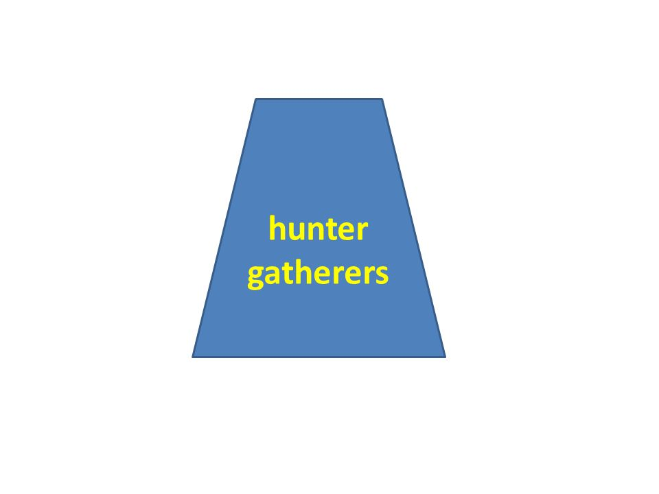 hunter gatherers live a subsistence lifestyle they have little development of skills or specialized labor they have low-population densities – usually