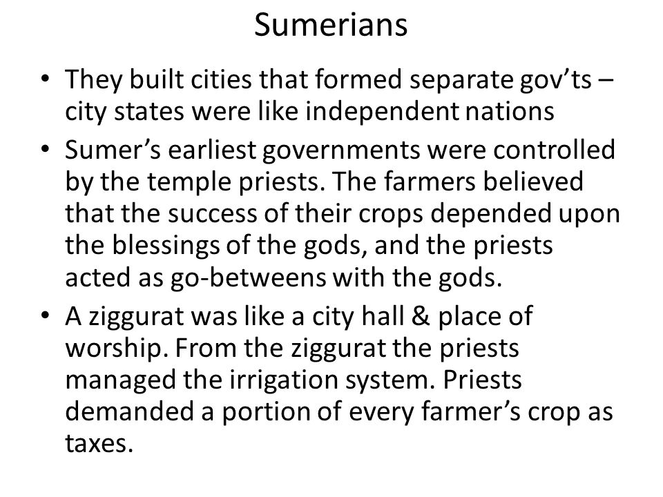5 characteristics of civilizations advanced cities, specialized workers complex institutions record keeping advanced technology Sumerians were one of