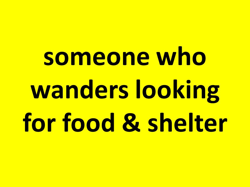 someone who wanders looking for food & shelter